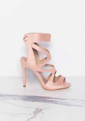 Audrey Pink Cut Out Suede Lace Up Heels