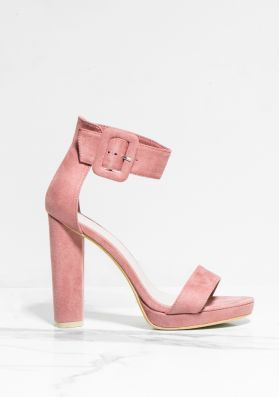 Darcy Blush Faux Suede Buckle Barely There Heels