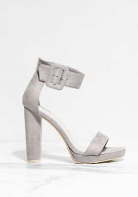 Darcy Grey Faux Suede Buckle Barely There Heels