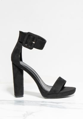 Darcy Black Faux Suede Buckle Barely There Heels