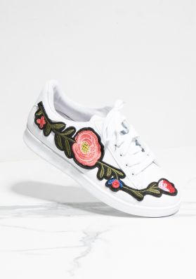 Hadley White Floral Embroidered Trainers