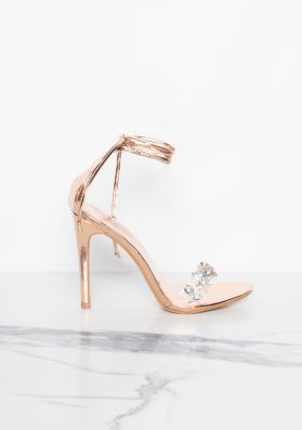 Destiny Rose Gold Jewelled Lace Up Heels