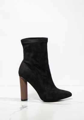 Lucile Black Faux Suede Pointed Ankle Heeled Boots