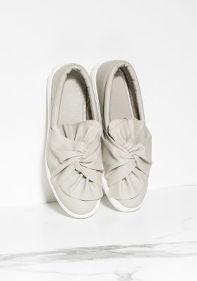 Tricia Grey Knot Front Flatforms