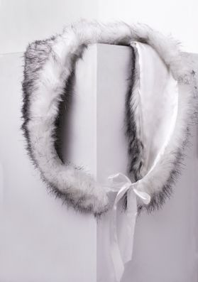 Margot White And Grey Faux Fur Shawl