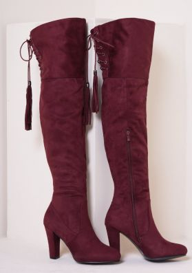Candie Wine Suede Thigh High Heeled Boots