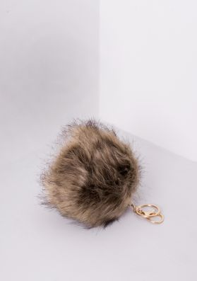 Sabine Beige Faux Fur Pom Pom Key Ring