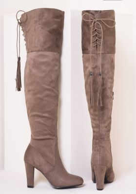 Candie Mocha Suede Thigh High Heeled Boots