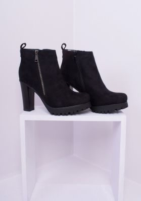 Octavia Black Suede Heeled Ankle Boots