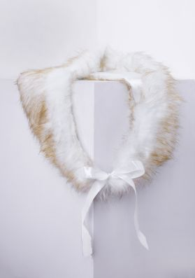 Margot White And Rust Faux Fur Shawl