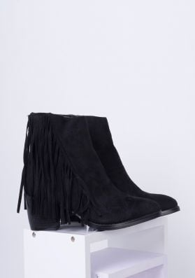 Yazz Black Suede Tassel Ankle Boot