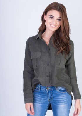 Laurie Khaki Suede Oversized Shirt