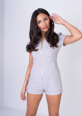 Lissi Grey Zip Up Utility Playsuit