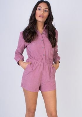 Demetria Dusty Pink Button Front Suede Playsuit