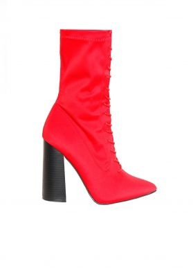 Lauren Red Lace Up Boots