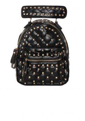 Gia Black Faux Leather Studded Backpack