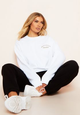 Elli White Self Love Is Needed Slogan Oversized Sweatshirt