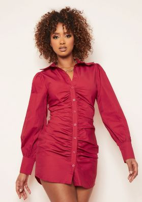Lucia Burgundy Ruched Front Mini Shirt Dress