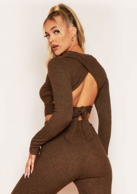 Emma Chocolate Brushed Rib Wrap Back Tie Waist Crop Top
