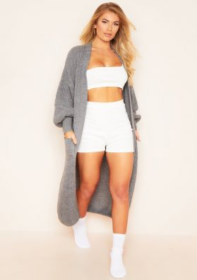 Nathalie Charcoal Balloon Sleeve Knitted Cardigan