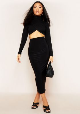 Maddie Black Double Thickness Slinky Midaxi Bodycon Skirt