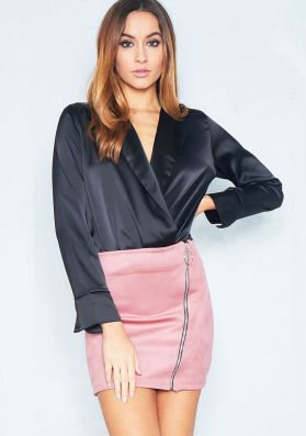 Polly Pink Suede Zip Up Mini Skirt