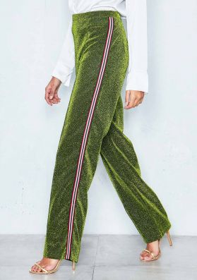 Shelby Green Glitter Stripe Trousers