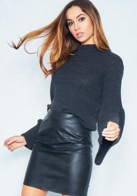 Leandra Charcoal Loose Knit Flare Sleeve Jumper
