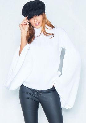 Mickey White Roll Neck Flare Sleeve Jumper