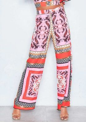 Abby Pink Scarf Print Wide Leg Trousers