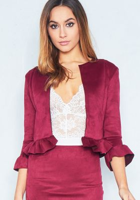Sophia Wine Collarless Faux Suede Frill Jacket
