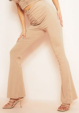 Reeya Taupe Ruched Front Flared Trousers