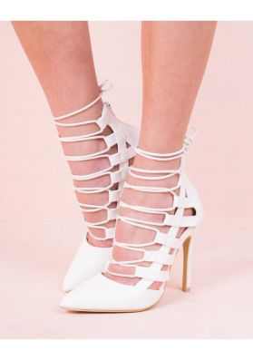 Agata White Suede Lace Up Pointed Heels