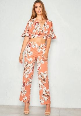 Tess Rust Floral Batwing Co-ord Set
