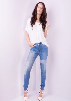 Nylah Patch Work Skinny Jeans