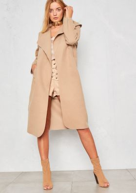 Shay Camel Waterfall Drape Coat