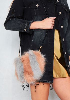 Zora Pink And Grey Faux Fur Fluffy Bag