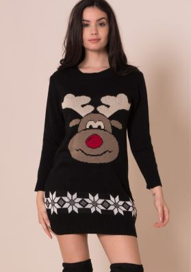Black Rudolph Print Knitted Christmas Dress