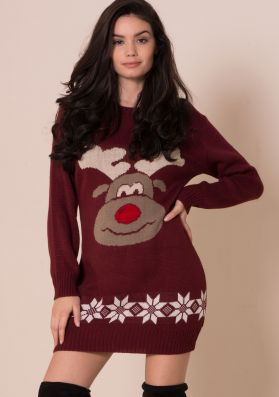 Wine Rudolph Print Knitted Christmas Dress