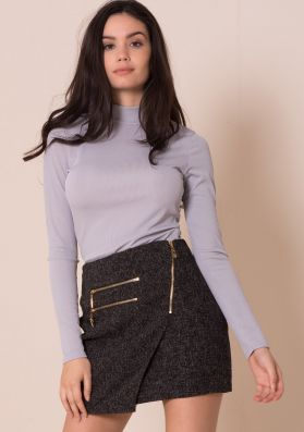 Alyx Dark Grey Front Wrap Mini Skirt