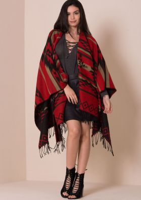 Essie Red Knitted Aztec Print Cape