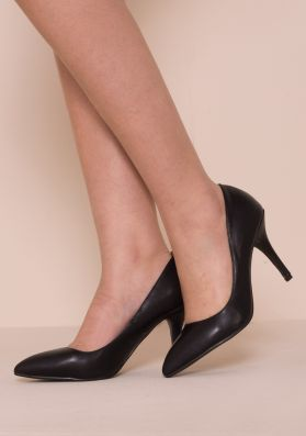 Tiffany Black Faux Leather Court Heels