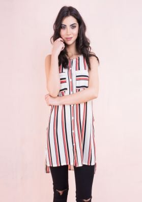 Kouka Striped Chiffon Top