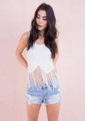 Lisa Polka Dot Lace Tassel Crop Top