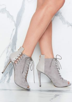 Lindsey Grey Open Toe Lace Up Heels