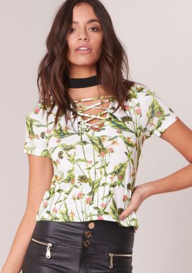 Elsie White And Green Floral Lace Up Top