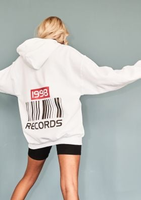 May White Records Slogan Oversized Hoodie