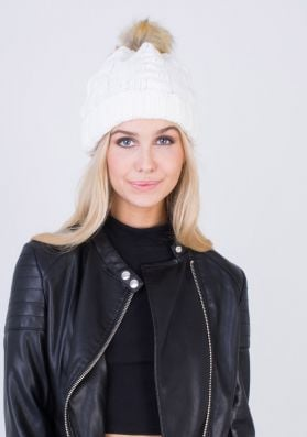 Kimi Cream Faux Fur Bobble Knitted Beanie