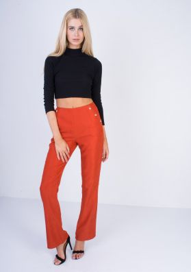 Mika Rust High Waisted Flared Trousers