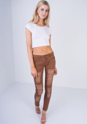 Catia Rust Low Rise Ripped Skinny Jeans